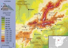 Mapa hipsometrico de Guadarrama